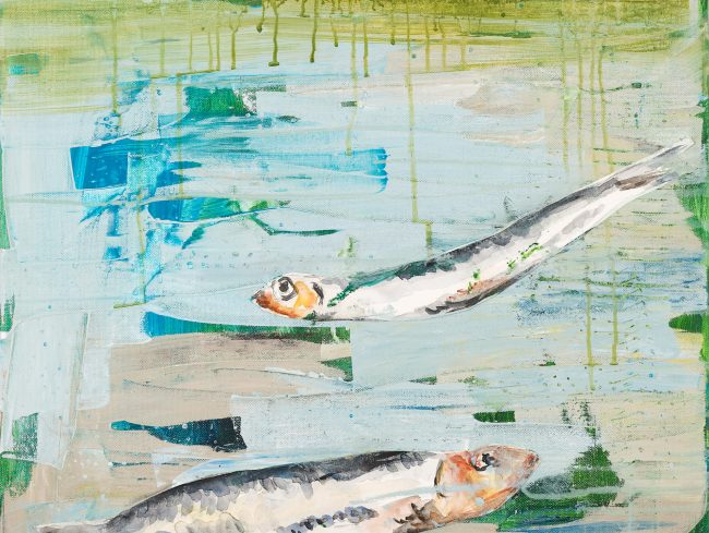 Fisch2 © Tina Steffens 2016 50x50cm Mischtechnik auf Leinwand #100123